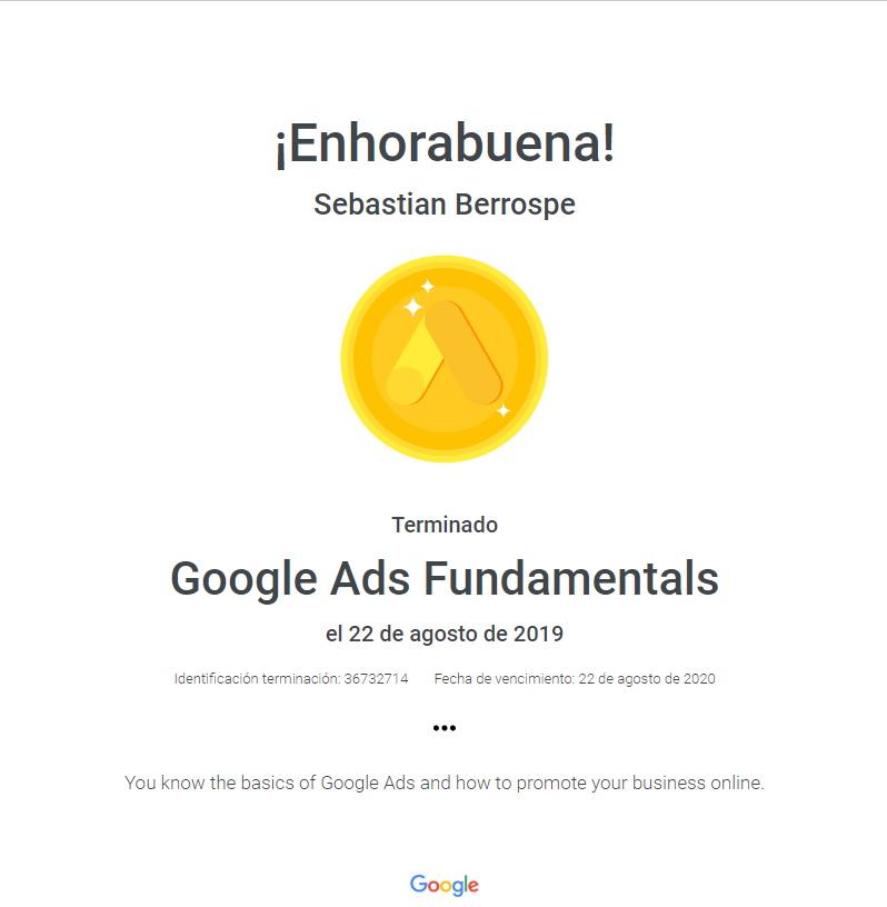 Certificación Google Ads Fundaments Bogotá Colombia