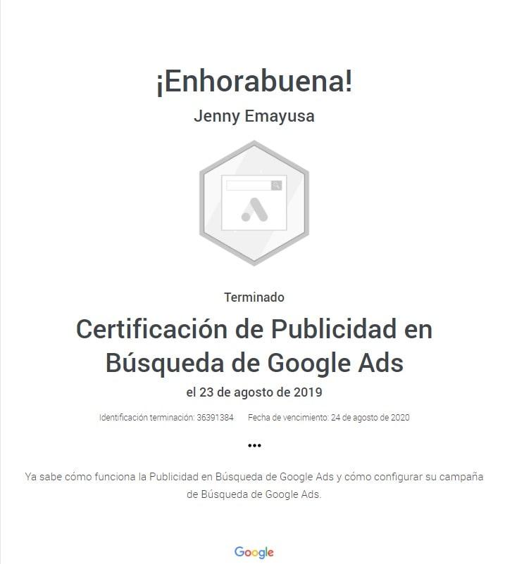 Certificación de Publicidad en Búsqueda de GoogleAds Google Bogotá Colombia