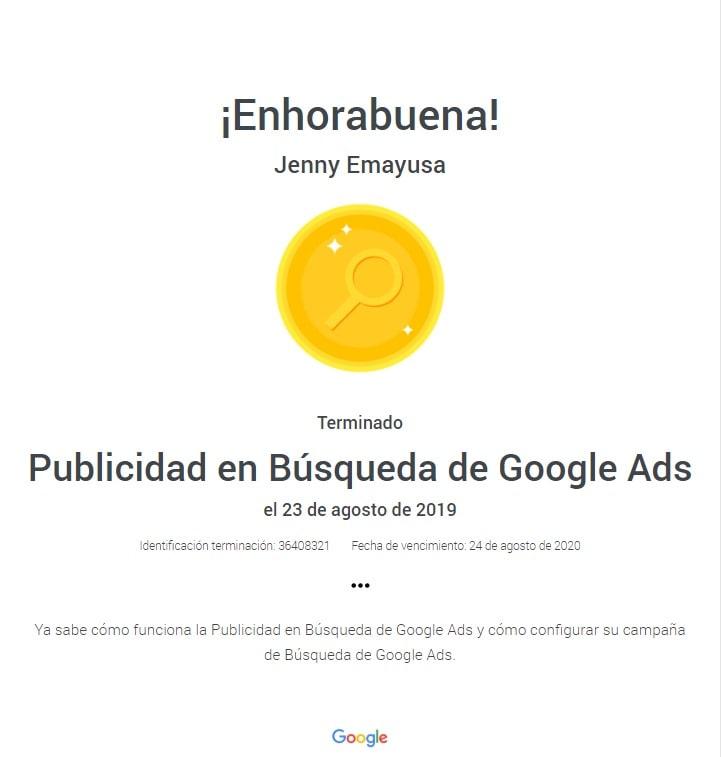 Certificación Publicidad en Búsqueda de GoogleAds Bogotá Colombia