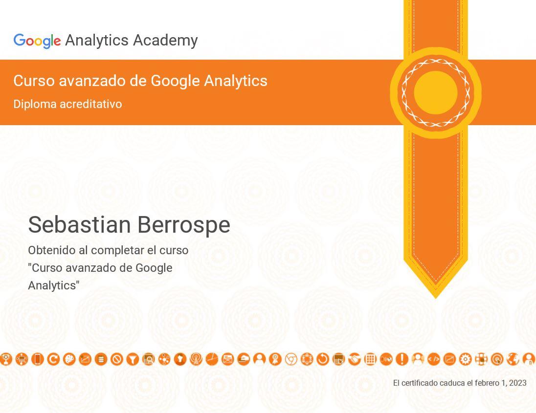 Certificación Google Analytics Avanzado Bogotá Colombia