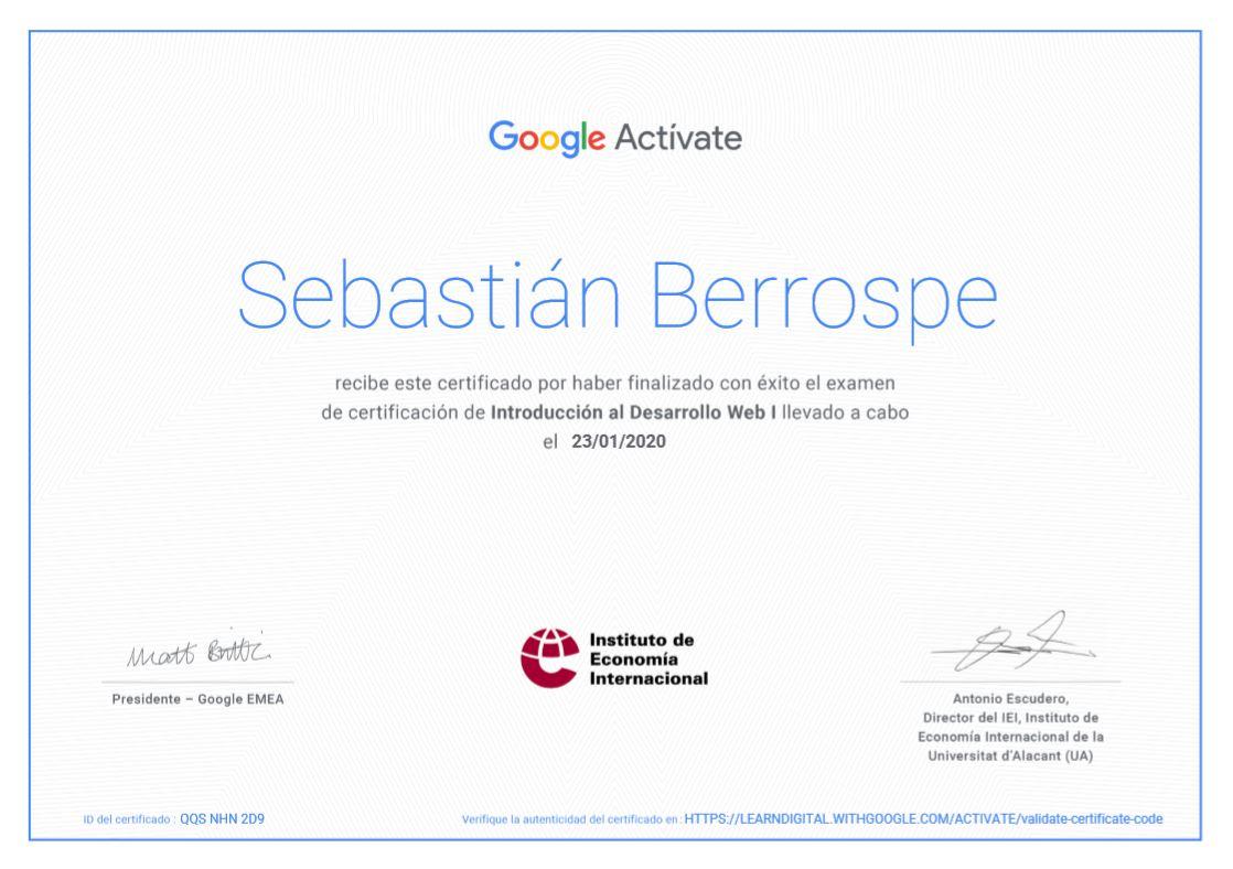 Certificación Desarrollo Web 1 Bogotá Colombia
