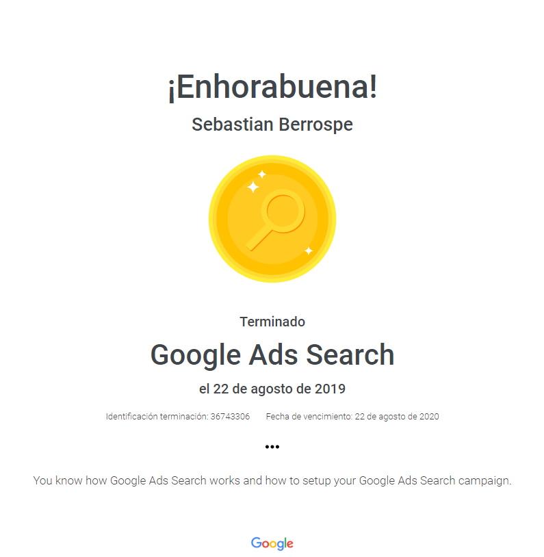 Certificación Google Ads Search Bogotá Colombia